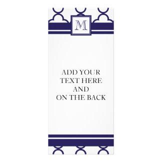 Navy Blue, White Quatrefoil | Your Monogram Full Color Rack Card