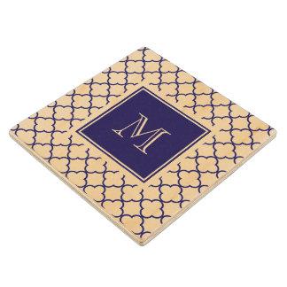 Navy Blue, White Quatrefoil | Your Monogram Wood Coaster