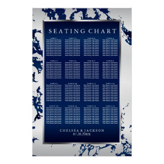 Navy Blue, White Satin & Silver - Seating Chart