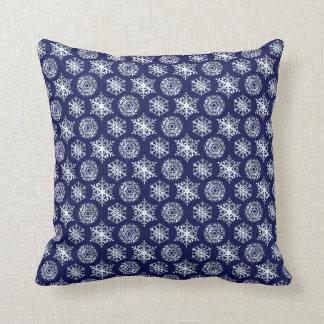 Navy Blue White Snowflakes Cushion