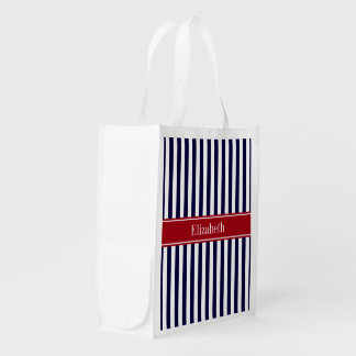 Navy Blue White Stripe Cranberry Name Monogram Reusable Grocery Bag