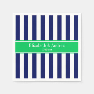 Navy Blue White Stripe Emerald Green Name Monogram Disposable Serviette