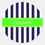 Navy Blue White Stripe Lime Name Monogram