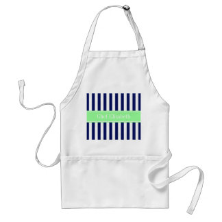 Navy Blue White Stripe Mint Green Name Monogram Standard Apron