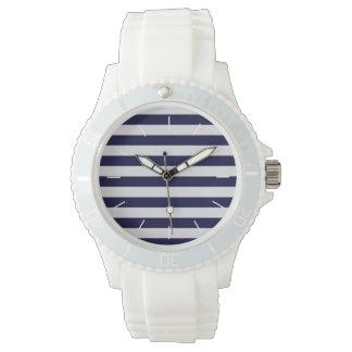 Navy Blue/White Stripe Nautical Watch