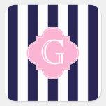Navy Blue White Stripe Pink Quatrefoil Monogram Square Stickers