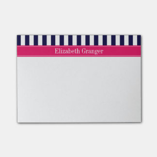 Navy Blue White Stripe Raspberry Name Monogram Post-it Notes