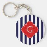 Navy Blue White Stripe Red Quatrefoil Monogram Key Chains