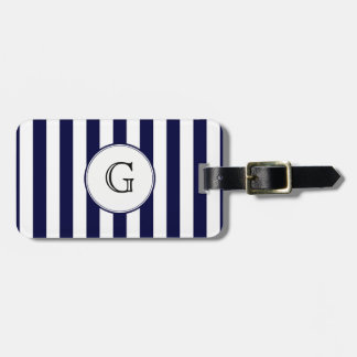 Navy Blue White Stripe Round Wht Monogram Label Luggage Tag
