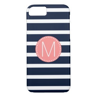 Navy Blue & White Stripe with Coral Monogram iPhone 8/7 Case