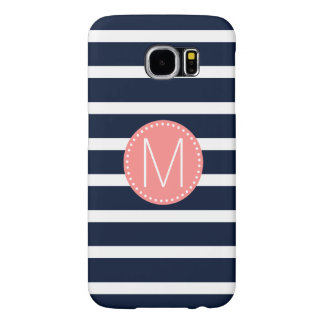 Navy Blue & White Stripe with Coral Monogram Samsung Galaxy S6 Cases