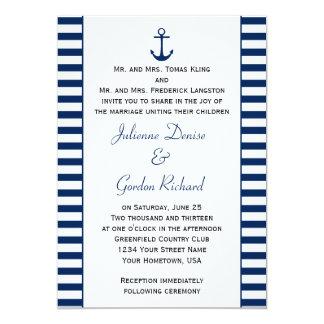 Navy Blue White Stripes Anchor Nautical Weddings 13 Cm X 18 Cm Invitation Card