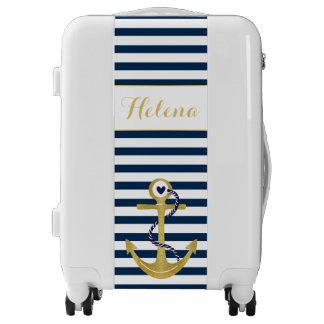 Navy blue white stripes gold foil anchor nautical luggage