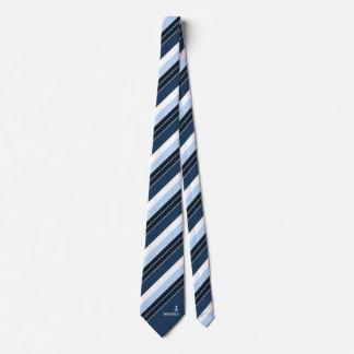 Navy Blue White Stripes Nautical Monogram Name Tie