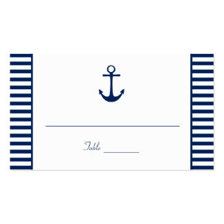 Navy Blue White Stripes Nautical Place Cards Pack Of Standard Business Cards
