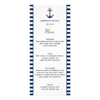 Navy Blue White Stripes Nautical Theme Menu Rack Card Template