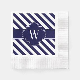 Navy Blue White Stripes, Navy Label Monogram Disposable Napkins