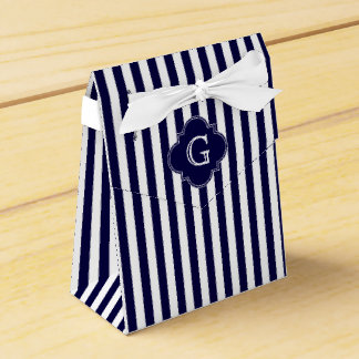Navy Blue White Stripes, Navy Label Monogram Favour Box