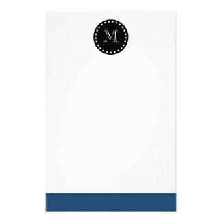 Navy Blue White Stripes Pattern, Black Monogram Stationery Design