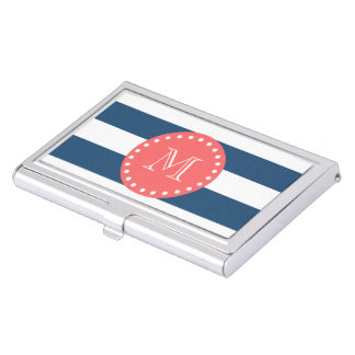 Navy Blue White Stripes Pattern, Coral Monogram Business Card Holder