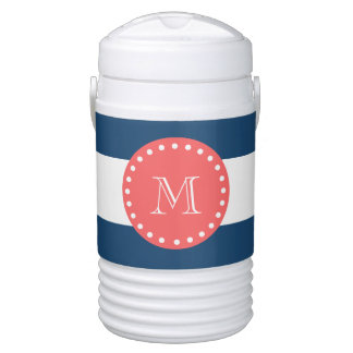 Navy Blue White Stripes Pattern, Coral Monogram Drinks Cooler