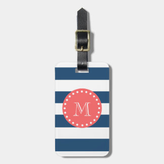 Navy Blue White Stripes Pattern, Coral Monogram Luggage Tag