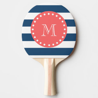 Navy Blue White Stripes Pattern, Coral Monogram Ping Pong Paddle