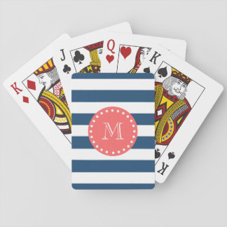 Navy Blue White Stripes Pattern, Coral Monogram Poker Cards