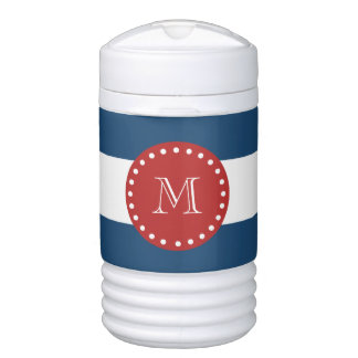 Navy Blue White Stripes Pattern, Red Monogram Cooler