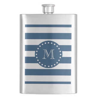 Navy Blue White Stripes Pattern, Your Monogram Hip Flask