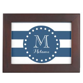 Navy Blue White Stripes Pattern, Your Monogram Keepsake Boxes