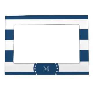 Navy Blue White Stripes Pattern, Your Monogram Magnetic Picture Frame