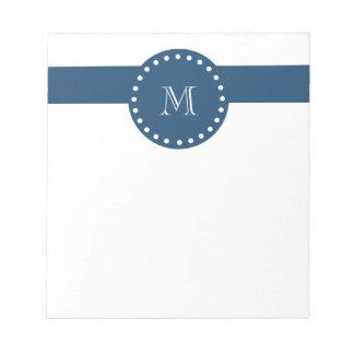 Navy Blue White Stripes Pattern, Your Monogram Notepad