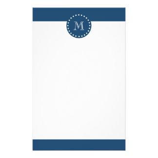 Navy Blue White Stripes Pattern, Your Monogram Stationery