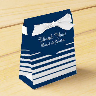 Navy blue & white stripes wedding favor box