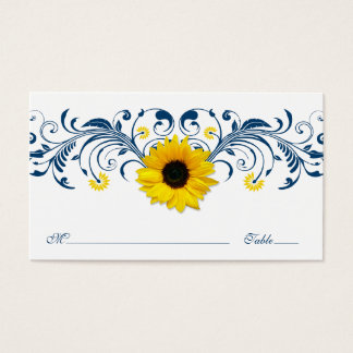 Navy Blue White Sunflower Floral Wedding Placecard