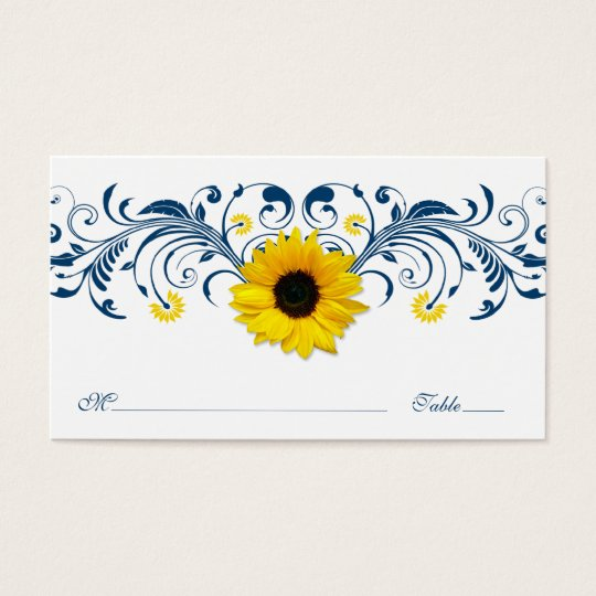 Navy Blue White Sunflower Floral Wedding Placecard Business