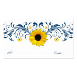 Navy Blue White Sunflower Floral Wedding Placecard Pack Of Standard Business Cards