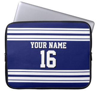 Navy Blue White Team Jersey Custom Number Name Laptop Sleeve