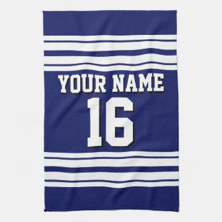 Navy Blue White Team Jersey Custom Number Name Tea Towel