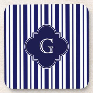 Navy Blue White Uneven Stripes Navy Monogram Label Beverage Coasters