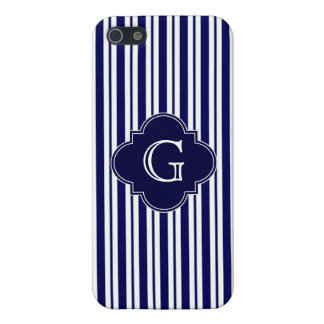 Navy Blue White Uneven Stripes Navy Monogram Label Case For iPhone 5