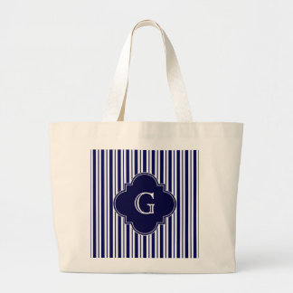 Navy Blue White Uneven Stripes Navy Monogram Label Large Tote Bag