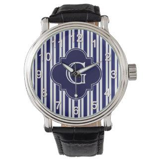 Navy Blue White Uneven Stripes Navy Monogram Label Wristwatch