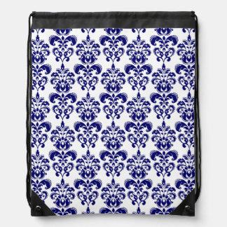 Navy Blue, White Vintage Damask Pattern 2 Drawstring Backpack