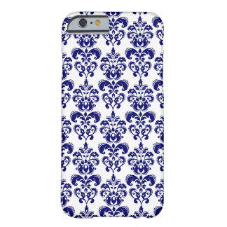 Navy Blue, White Vintage Damask Pattern 2 Barely There iPhone 6 Case