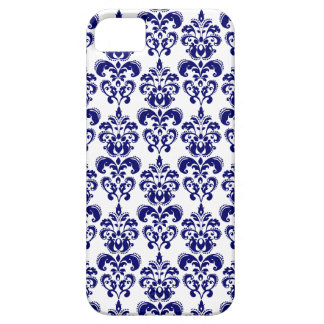 Navy Blue, White Vintage Damask Pattern 2 iPhone 5 Covers