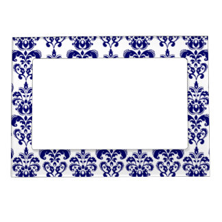 Navy Blue, White Vintage Damask Pattern 2 Magnetic Frame