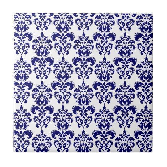 Navy Blue, White Vintage Damask Pattern 2 Small