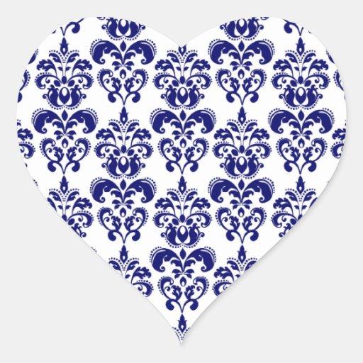 Navy Blue, White Vintage Damask Pattern 2 Sticker